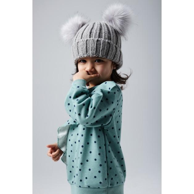 "Bērnu cepure ""Beechfield Infant Faux Fur Double Pom Pom Beanie"""