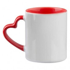 "Sublimācijas krūze 330ml ar sirds formas osi ""Mug Funny with heart-shaped handle"""